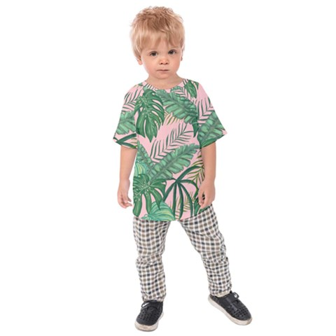 Tropical Greens Leaves Kids  Raglan Tee by Jojostore