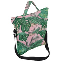 Tropical Greens Leaves Fold Over Handle Tote Bag by Jojostore