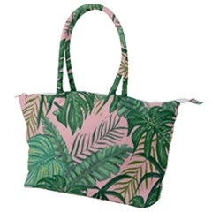 Tropical Greens Leaves Canvas Shoulder Bag