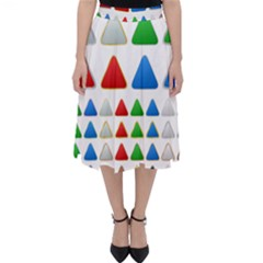 Triangle Button Metallic Metal Classic Midi Skirt