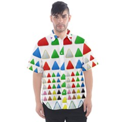 Triangle Button Metallic Metal Men s Short Sleeve Shirt