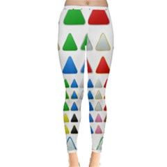 Triangle Button Metallic Metal Inside Out Leggings