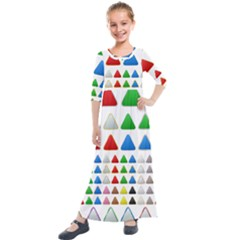 Triangle Button Metallic Metal Kids  Quarter Sleeve Maxi Dress by Jojostore