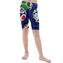 Textile Football Soccer Fabric Kids  Mid Length Swim Shorts by Pakrebo