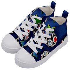 Textile Football Soccer Fabric Kids  Mid Top Canvas Sneakers by Pakrebo