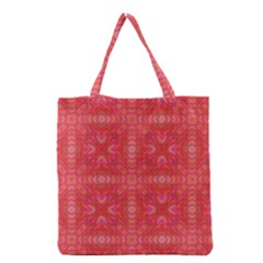Triangle Mosaic Red Pattern Mirror Grocery Tote Bag by Jojostore