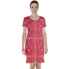 Triangle Mosaic Red Pattern Mirror Short Sleeve Nightdress