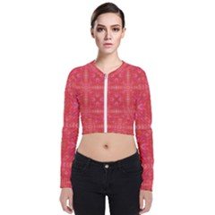 Triangle Mosaic Red Pattern Mirror Long Sleeve Zip Up Bomber Jacket