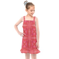 Triangle Mosaic Red Pattern Mirror Kids  Overall Dress