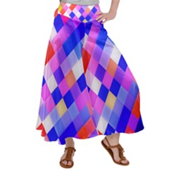 Squares Pattern Geometric Seamless Satin Palazzo Pants
