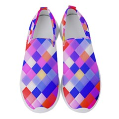 Squares Pattern Geometric Seamless Women s Slip On Sneakers