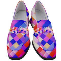 Squares Pattern Geometric Seamless Women s Chunky Heel Loafers by Jojostore