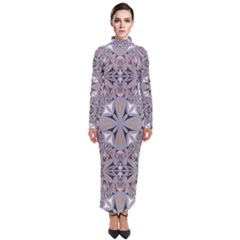 Triangle Pattern Kaleidoscope Turtleneck Maxi Dress by Jojostore
