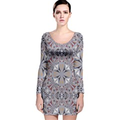 Triangle Pattern Kaleidoscope Long Sleeve Velvet Bodycon Dress