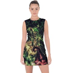 Fractal Cauliflower Green Rendered Lace Up Front Bodycon Dress