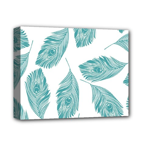 Peacock Feather Background Deluxe Canvas 14  X 11  (stretched) by AnjaniArt