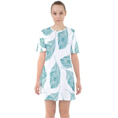 Peacock Feather Background Sixties Short Sleeve Mini Dress