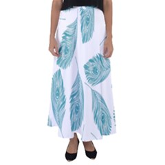 Peacock Feather Background Flared Maxi Skirt