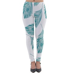 Peacock Feather Background Lightweight Velour Leggings by AnjaniArt