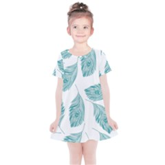 Peacock Feather Background Kids  Simple Cotton Dress