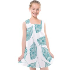 Peacock Feather Background Kids  Cross Back Dress by AnjaniArt