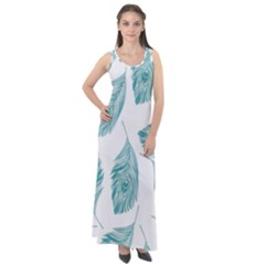 Peacock Feather Background Sleeveless Velour Maxi Dress by AnjaniArt