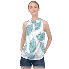 Peacock Feather Background High Neck Satin Top by AnjaniArt