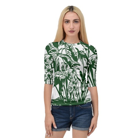 Plant Tropical Leaf Colocasia Quarter Sleeve Raglan Tee by AnjaniArt