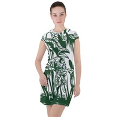 Plant Tropical Leaf Colocasia Drawstring Hooded Dress by AnjaniArt