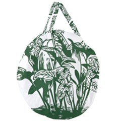 Plant Tropical Leaf Colocasia Giant Round Zipper Tote