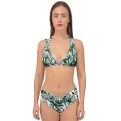 Plant Tropical Leaf Colocasia Double Strap Halter Bikini Set by AnjaniArt