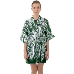 Plant Tropical Leaf Colocasia Quarter Sleeve Kimono Robe by AnjaniArt