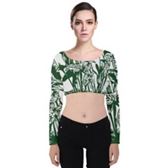 Plant Tropical Leaf Colocasia Velvet Long Sleeve Crop Top by AnjaniArt