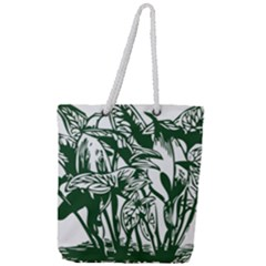 Plant Tropical Leaf Colocasia Full Print Rope Handle Tote (large)