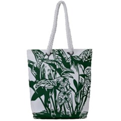 Plant Tropical Leaf Colocasia Full Print Rope Handle Tote (small)