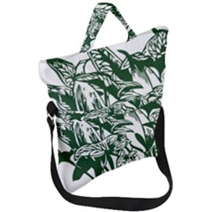 Plant Tropical Leaf Colocasia Fold Over Handle Tote Bag by AnjaniArt
