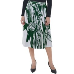 Plant Tropical Leaf Colocasia Classic Velour Midi Skirt