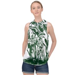 Plant Tropical Leaf Colocasia High Neck Satin Top by AnjaniArt