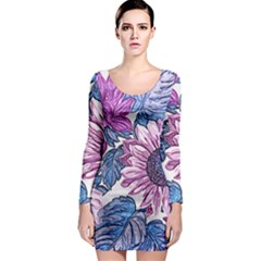 Fabric Flowers Floral Design Long Sleeve Bodycon Dress