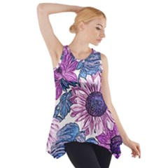 Fabric Flowers Floral Design Side Drop Tank Tunic