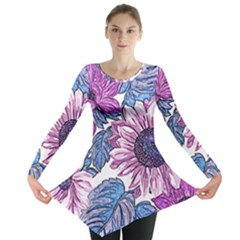 Fabric Flowers Floral Design Long Sleeve Tunic