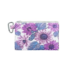 Fabric Flowers Floral Design Canvas Cosmetic Bag (small)