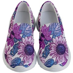 Fabric Flowers Floral Design Kids  Lightweight Slip Ons