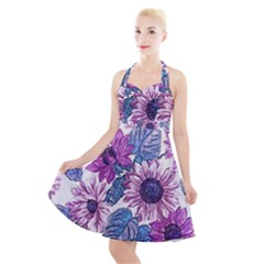 Fabric Flowers Floral Design Halter Party Swing Dress