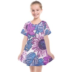 Fabric Flowers Floral Design Kids  Smock Dress by Pakrebo