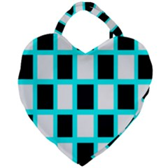 Squares Pattern Giant Heart Shaped Tote