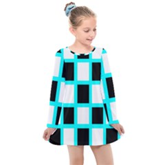 Squares Pattern Kids  Long Sleeve Dress by AnjaniArt