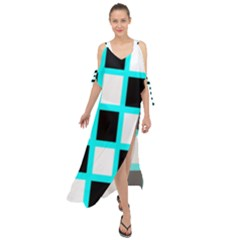 Squares Pattern Maxi Chiffon Cover Up Dress
