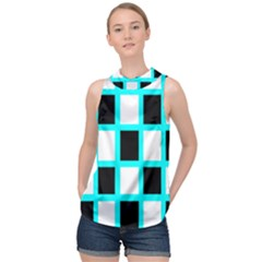 Squares Pattern High Neck Satin Top by AnjaniArt