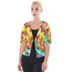 Fractal Mandelbrot Art Wallpaper Cropped Button Cardigan